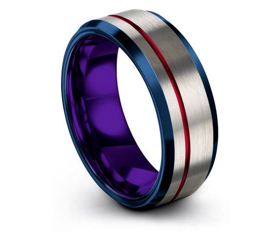 Silver His and Hers Wedding Band Set,Mens Blue Ring,Blue Tungsten Carbide Ring 8mm,Offset Red Engraved Ring,Anniversary Gifts,Gift For Him