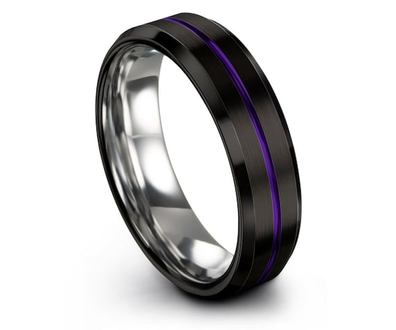 Black Tungsten Ring,8mm Beveled Silver Tungsten Wedding Band,Center Brushed With Purple Line Engraving,Couple Ring Set,Customize Ring