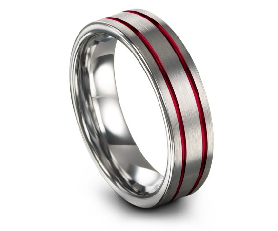 Engagement Rings,Mens Wedding Band,6mm 8mm Tungsten Ring,Flat Cut Tungsten Ring,Silver Tungsten Ring,Red Line Engraving,Gifts For Husband