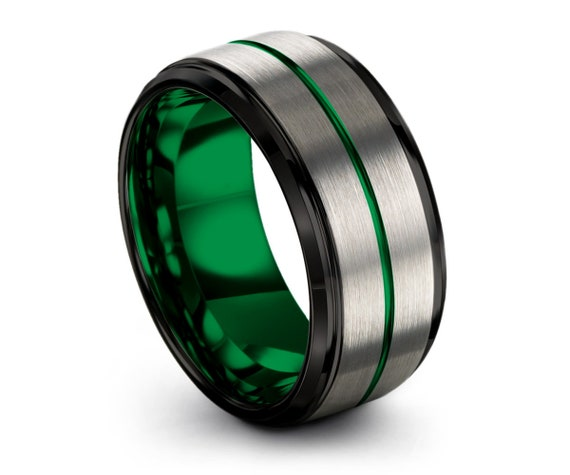 Stylish Unisex Green and Brushed Silver Wedding Band With Black Edges, Wedding Ring, Tungsten Ring 10mm, Personalized Ring, Promise Ring
