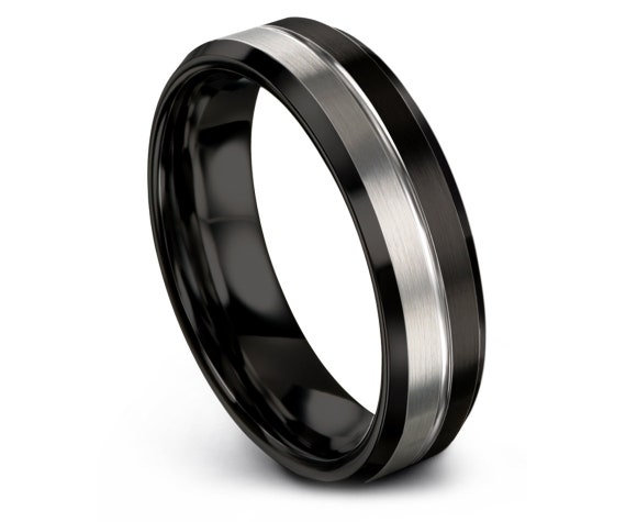 Comfort Fit Wedding Band | Silver Tungsten Ring | Tungsten Wedding Ring | Half Silver Ring | Ring For Men | Matching Ring | Free Engraving