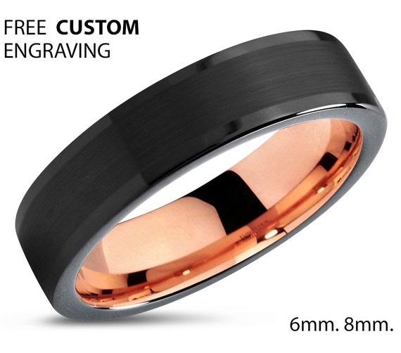 Mens Wedding Band Black, Rose Gold Wedding Ring, Tungsten 6mm 18K, Engagement Ring, Promise Ring, Personalized Ring, Gifts for Him