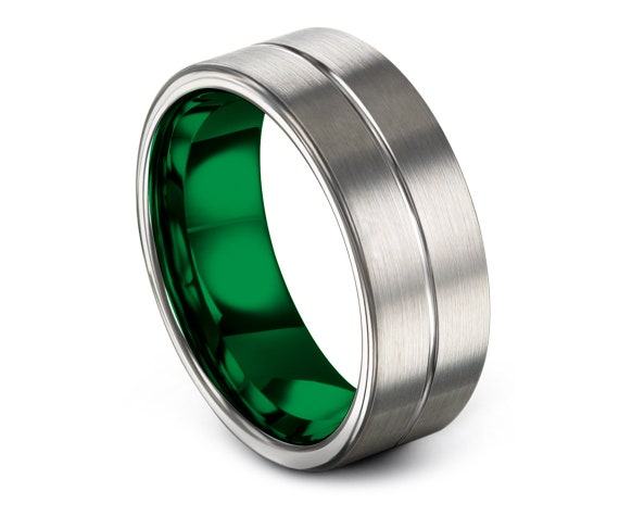 Comfort Fit Tungsten Band Green,Brushed Silver Wedding Band,His and Hers Wedding Bands,Unique Gifts For Her,Thin Line Jewelry,Unique Gift