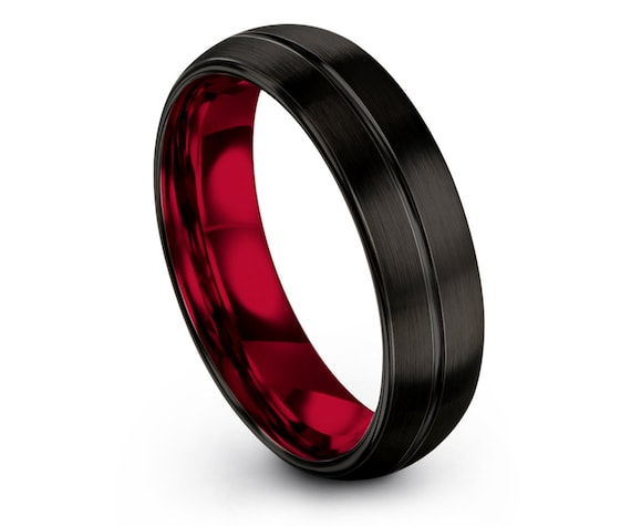 Couple Matching Ring Red,Black Domed Tungsten Band With Center Engraving Ring,Tungsten His and Hers Wedding Band Tungsten,Comfort Fit Ring