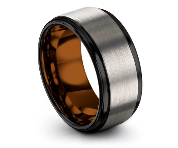 Step Edge Tungsten Ring 10mm,Inside Copper Ring,Mens Tungsten Wedding Band,Black and Silver,Promise Ring,Unique Rings,Jewelry Ring,All Size