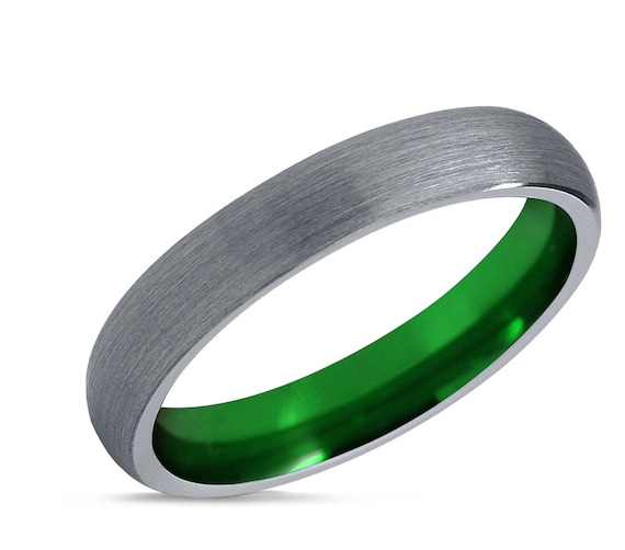 Tungsten Ring Green, Mens Wedding Band Silver, Wedding Ring 4mm, Engagement Ring, Promise Ring, Rings for Men, Rings for Women, Silver Ring