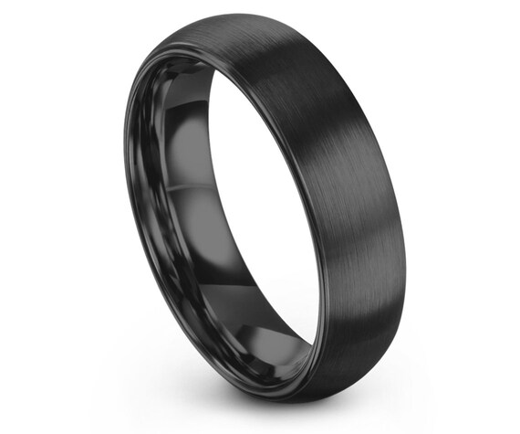Dome Tungsten Ring Gunmetal, Mens Wedding Band Tungsten Brushed, Ring Size 10, Promise Ring For Her, Rings for Women, Free Shipping,All Size