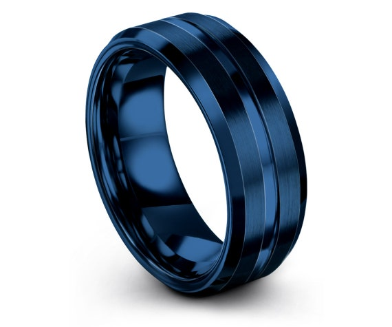 Custom Tungsten Ring,Blue Wedding Band,Papa Gifts,Couple Ring Set,Center Engraving Ring,His and Hers Rings,Engagement Invite,6mm 8mm