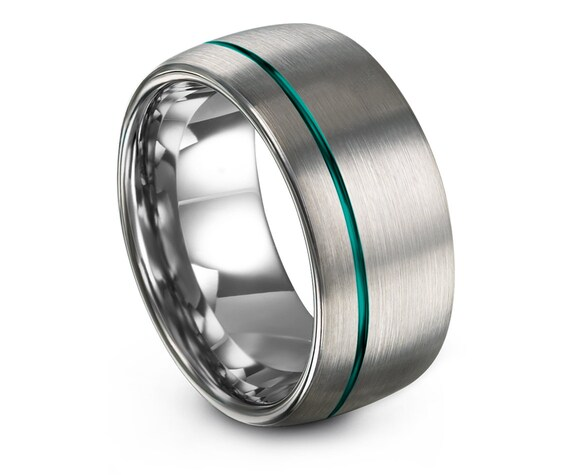 10mm Tungsten Ring, Silver Wedding Band, Teal Line Offset Engraved, His and Hers Rings, One Of a King, Tungsten Carbide Ring, Husband Gift