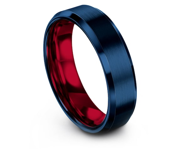Red Wedding Band | Blue Tungsten Ring | Blue Engagement Ring | Ring for Women | His and Hers | Fathers Day Gift | Couple Matching Ring