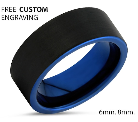Mens Blue Wedding Band Ring with FREE personalized engraving, Hypoallergenic Tungsten Carbide, Unisex design with a black brushed exterior