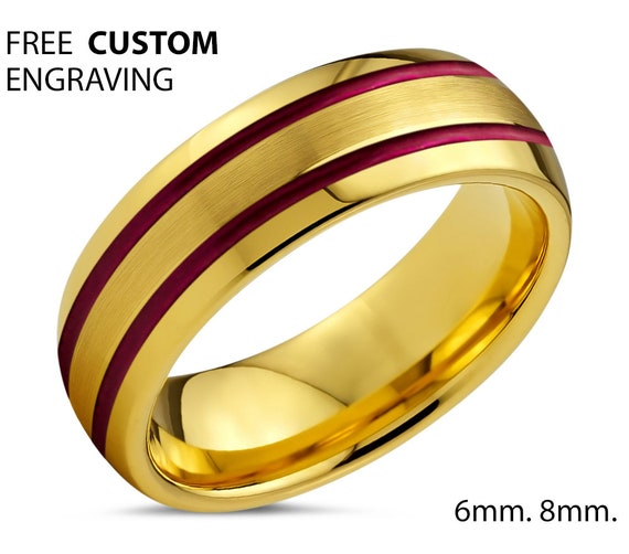 18k Yellow Gold Mens Wedding Band - Unisex Double Red Lines Tungsten Ring - Promise Ring - Anniversary Gift - Free Engraving - 50% OFF
