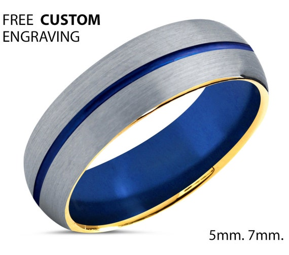 Blue Tungsten Wedding Band with 18k Yellow Gold Edges and Brushed Top | Unisex Wedding Ring | Free Custom Engraving | 5mm or 7mm Widths