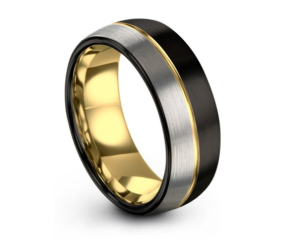 Unisex 18k Yellow Gold 8mm Wedding Band Ring | Two Tone Brushed Silver Black Tungsten Carbide Ring | Anniversary, Wedding, Engagement, Gift