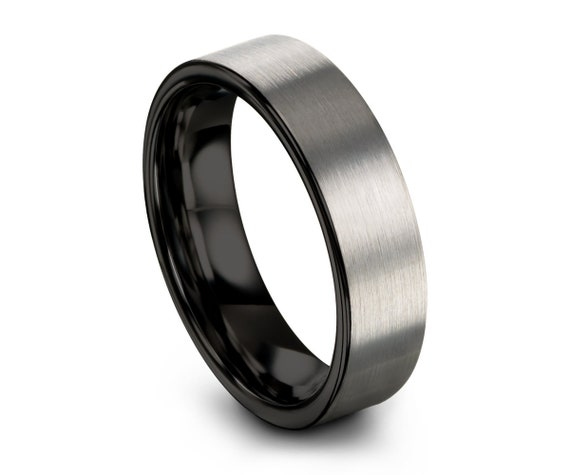 Tungsten Ring Brushed Silver Black, Wedding Band, Tungsten Carbide 4mm, Engagement, Mens, Women, Matching, 9mm 12mm 8mm 6mm, Promise Ring