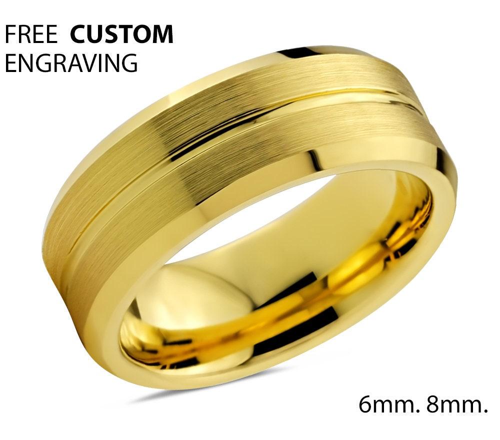 Mens Wedding Band Tungsten Ring Yellow Gold 18k Wedding Ring 8mm