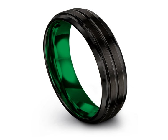 Tungsten Wedding Band Set Green - Beveled Black Tungsten Wedding Band - Polish Edge Tungsten Band - Gift For Father's - Free Engraving