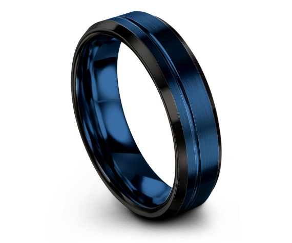 Luxury Tungsten Wedding Band Black | Blue Tungsten Engagement Ring | Tungsten Wedding Band | Promise Ring | Rings for Men | Infinity Ring