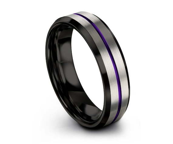 Personalized Purple Tungsten Wedding Band for Men & Women | Brushed Silver | Unique Promise Ring | Engagement, Anniversary, Gift Idea