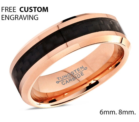 Mens Wedding Band Gold, Wedding Ring 6mm 8mm, Tungsten Ring Rose Gold 18K, Engagement, Promise Ring, Rings for Men, Gold Ring, Mens Ring