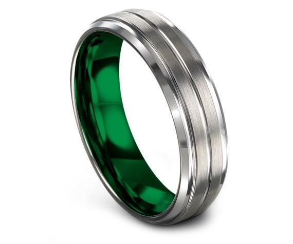 Mens Silver Ring - Tungsten Wedding Band Green - His and Hers Wedding Bands - Tungsten Ring Women - Center Engraving Ring - 6mm 8mm