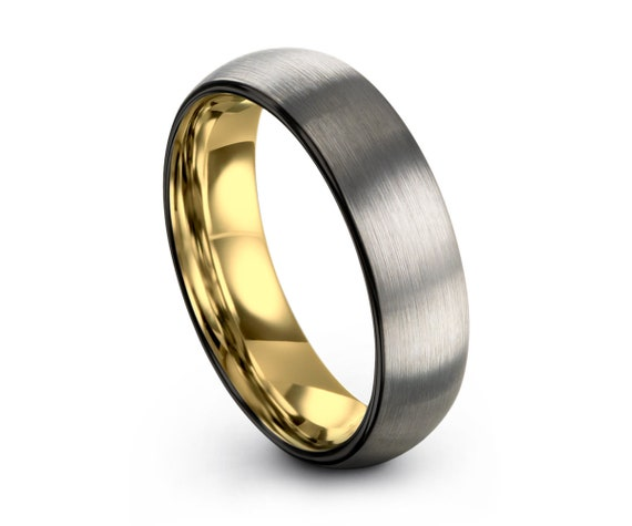 Brushed Silver Black Tungsten Ring Yellow Gold Wedding Band Ring Tungsten Carbide 6mm 18K Tungsten Ring Man Male Women Anniversary Matching