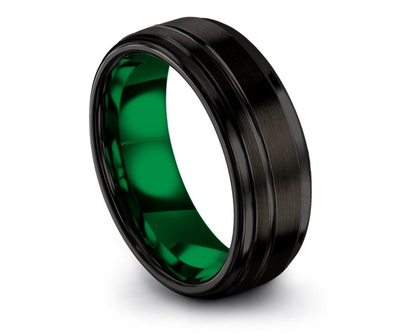 Tungsten Engagement Ring Black | Tungsten Carbide Ring | Green Tungsten Ring | Wedding Gifts | Gifts For Him | Engraved Ring | Custom Free