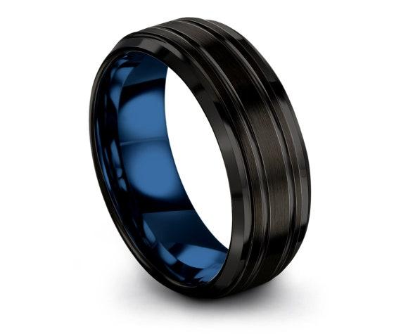 Black Tungsten Band,Brush Polish Wedding Band,Blue Tungsten Carbide Rings,Engraved Ring,Proposal Ring,Husband Gift,Gift Anniversary Ring