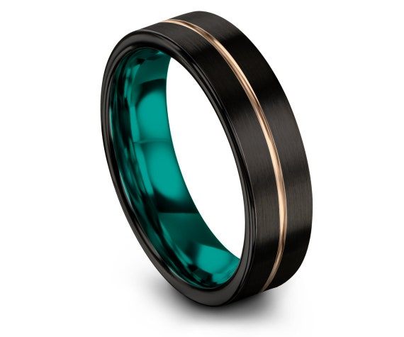 Black Ring, Comfort Fit Teal, Wedding Band, 18K Rose Gold, Tungsten Engagement Ring, Promise Ring, Center Engraving Ring, Personalized Ring