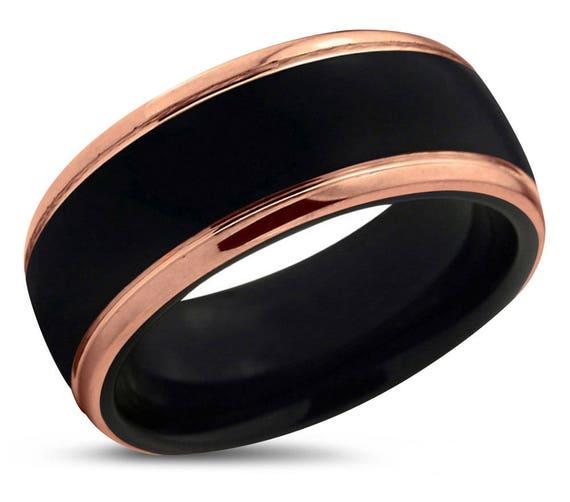 Mens Wedding Band Black, Tungsten Ring Rose Gold 18K 10mm, Wedding Ring Polished, Engagement Ring, Promise Ring, Rings for Men, Black Ring