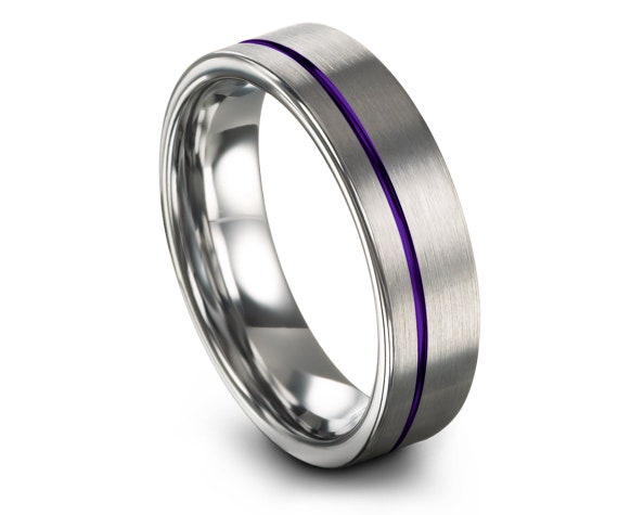 Brushed Wedding Band Silver,Flat Tungsten Ring 6mm,Purple Offset Engraved Ring,His and Hers Rings,Personalize Ring,Ring For Gift,Comfort Fit