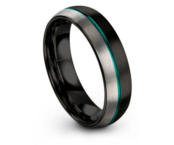 Personalized Ring Black,Silver Wedding Band,Domed Jewelry Ring,Men Rings,Gift For Him,Center Thin Line Teal,Free Engraving,4mm 6mm 8mm 10mm