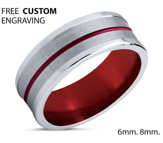 Unique Silver Mens Wedding Band, Red Tungsten Ring 8mm, Wedding Ring, Engagement Ring, Promise Ring, Rings for Men, Rings for Women