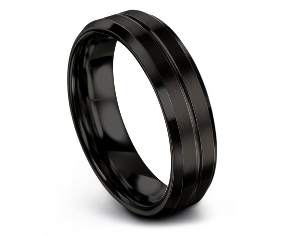 Mens Wedding Band, Tungsten Ring 6mm, Wedding Ring, Engagement Ring, Promise Ring, Rings for Men, Rings for Women, Black Ring, Simple Ring