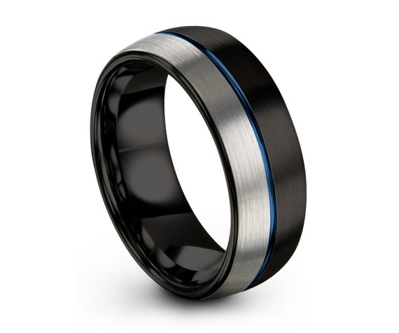 Mens Wedding Band Blue, Mens Ring Black & Silver, Tungsten, Engagement Ring, Promise Ring, Personalized, Rings for Men, Rings for Women