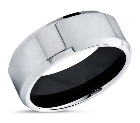 Tungsten Ring Brushed Silver, Mens Wedding Band Black 8mm, Engagement Ring, Promise Ring, Rings for Men, Rings for Women, Silver Ring