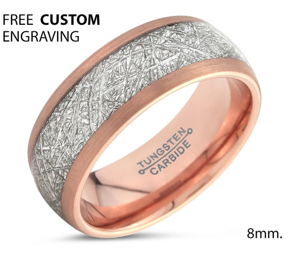 Rose Gold Meteorite Tungsten Ring for Men & Women | Unique Personalized Wedding Band | Promise Engagement Gift