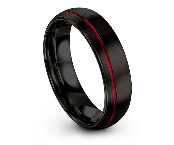 Gift For Her   Comfort Fit Wedding Ring   Tungsten Wedding Band Men   Tungsten Black Ring   Offset Line Red Engraving   Engagement Band