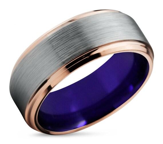 Mens Wedding Band Silver, Tungsten Ring Rose Gold 18K, Wedding Ring Purple 8mm, Engagement Ring, Promise Ring, Rings for Men, Gold ring