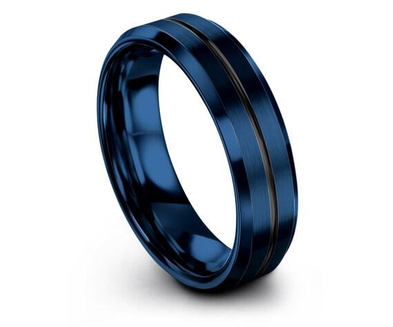 Modern Wedding Band Blue,6mm 8mm Beveled Black Tungsten Wedding Band,Blue Tungsten Carbide Ring,Pops Gift,Promise Ring Set,Free Engraving