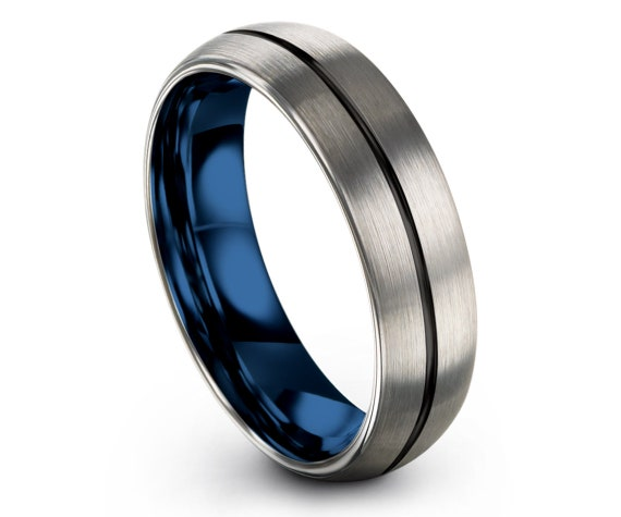 6MM Tungsten Silver Brushed Wedding Band,Mens Silver Ring,Domed Tungsten Ring,Black Line Engraving,Wedding Gifts,Rings,Fast Shipping