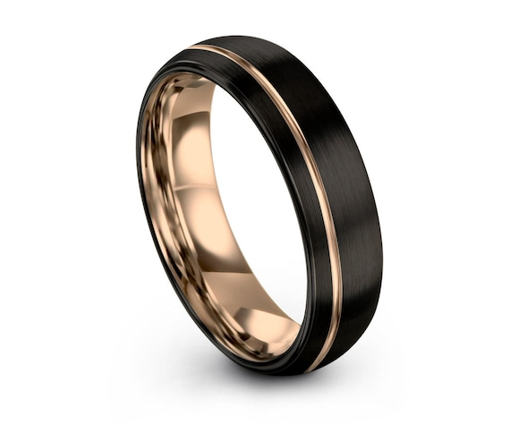 Mens Wedding Band, Rose Gold Wedding Ring, Black Tungsten Ring, Gold Ring, Engagement Ring, Promise Ring, Gifts for Her, Gifts for Him