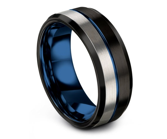 Black His and Hers Wedding Bands,Mens Wedding Band,Silver Tungsten Ring 8mm,Thin Blue Line,Personalized Ring,Promise Ring,Gifts for Her