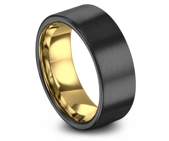 Flat Cut Tungsten Wedding Ring, Gunmetal Wedding Ring, 18K Yellow Gold, 8MM, Rings for Women, Handmade Ring, Size 10 Ring, Free Shipping