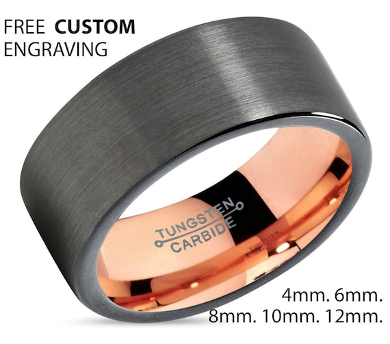 Mens Ring Gunmetal, Mens Wedding Band Rose Gold 18K 8mm, Tungsten Ring, Wedding Ring, Engagement Ring, Promise Ring, Rings for Men, Simple