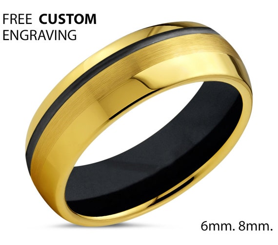 Unique 18k Yellow Gold with Black Offset Line and Black Interior Wedding Ring | Free Custom Engraving | Perfect Gift Idea | Free Shipping