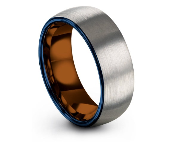 Domed Tungsten Ring Silver,Women Wedding Band Blue,Mens Gifts,His and Hers Rings,Couple Infinity Ring,Copper Ring 6mm,4mm,6mm,8mm,10mm
