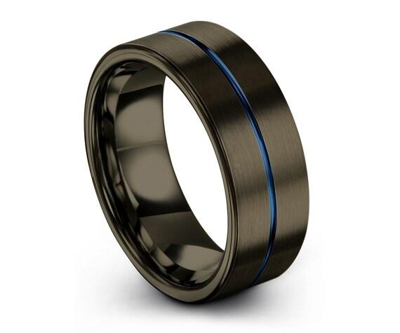 GUNMETAL Tungsten Ring, Mens Wedding Band Black, Green Wedding Ring 8mm, Engagement Ring, Promise Ring, Rings for Men, Personalized