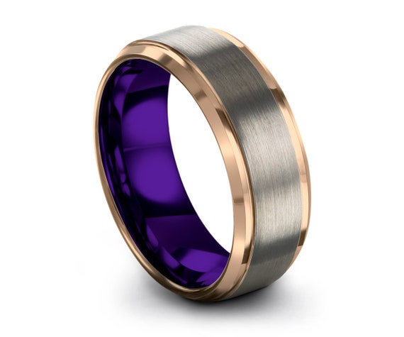 Mens Wedding Band Silver, Tungsten Ring Rose Gold 18K, Wedding Ring Purple 8mm, Engagement Ring, Promise Ring, Rings for Men, Gold ring