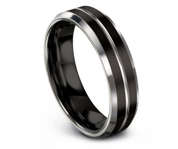 Black Silver Ring,Wedding Band,Tungsten Carbide 6mm,Engagement Ring,Wedding Ring Set,Personalized Ring,Tungsten Jewelry Ring,Gift for Him